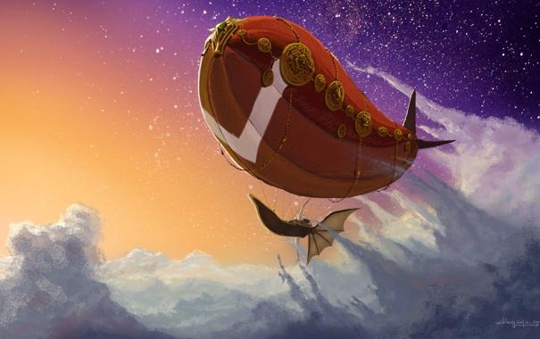 Фото обои облака, полет, корабль, арт, дирижабль, летучий, в небе