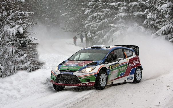 Фото обои Ford, Зима, Снег, Лес, WRC, Rally, Fiesta