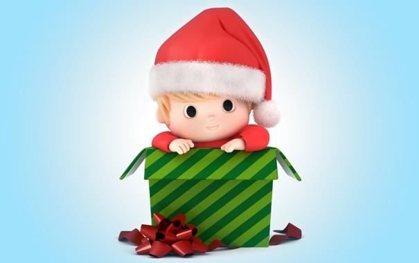 Фото обои подарок, новый год, рождество, малыш, christmas, санта, baby