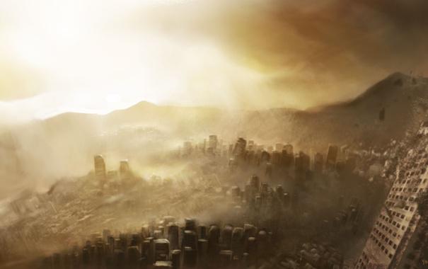 Фото обои город, здания, пыль, руины, арт, постапокалипсис