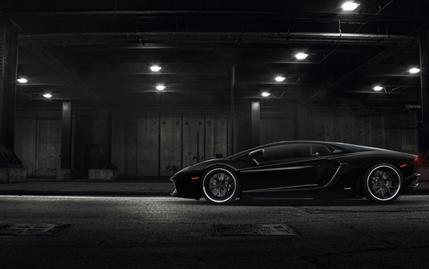 Фото обои лампы, Lamborghini, тоннель, black, LP700-4, Aventador, profile