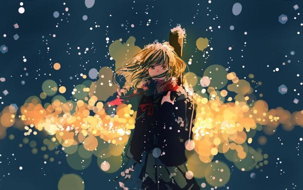 Фото обои девушка, снег, огни, фон, гитара, арт, ruru