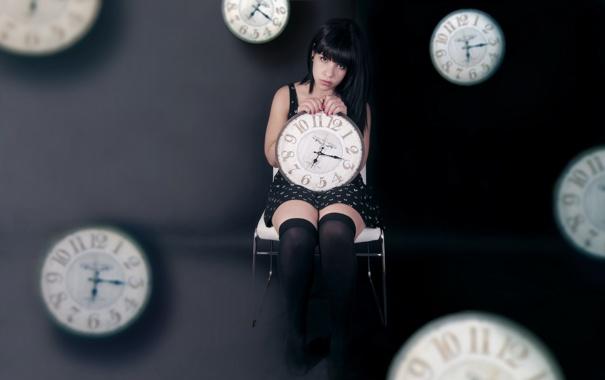 Фото обои девушка, время, часы