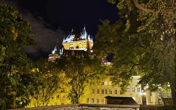 Фото обои ночь, огни, дома, Канада, Квебек, замок Фронтенак