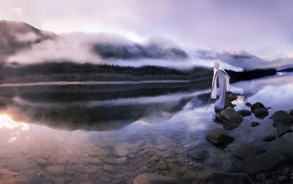 Фото обои девушка, озеро, оружие
