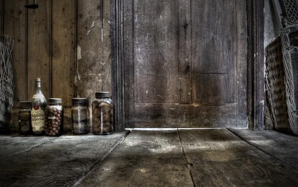 Фото обои дверь, пол, банки