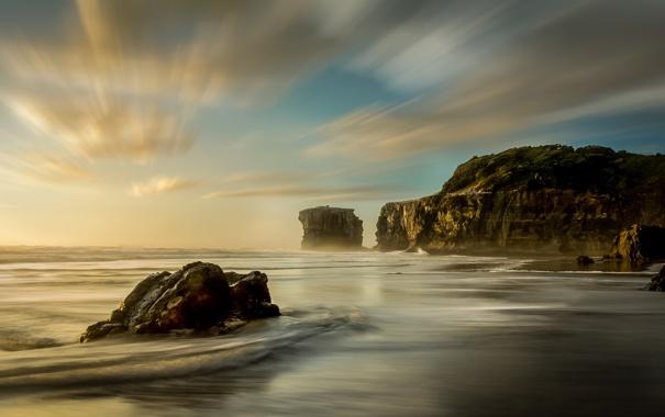 Фото обои rock, beach, ocean, new zealand, muriwai