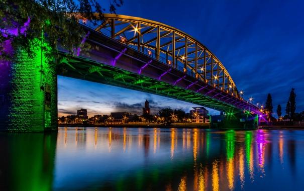 Фото обои мост, блики, река, Нидерланды, ночной город, Netherlands, Рейн