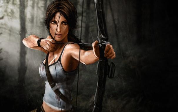 Фото обои лес, дождь, выстрел, лук, Tomb Raider, Lara Croft