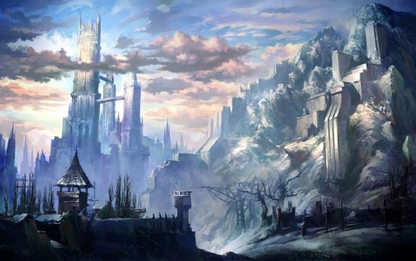 Фото обои облака, горы, город, башня, concept art, tera online, kim hyeong seung