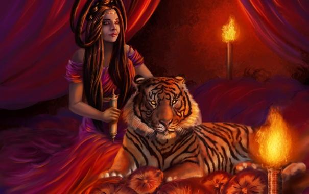 Фото обои взгляд, девушка, свет, лицо, тигр, комната, огонь