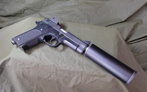 Фото обои пистолет, оружие, ствол, глушитель