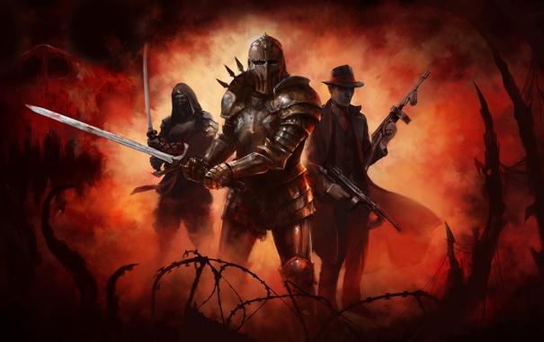 Фото обои оружие, меч, арт, дымка, рыцарь, пулеметы, гангстер