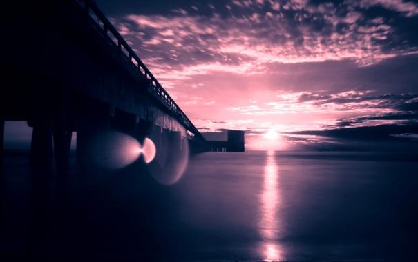Фото обои море, солнце, мостик