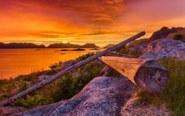 Фото обои sunset, wood, mountains, clouds, lake, hills, stones