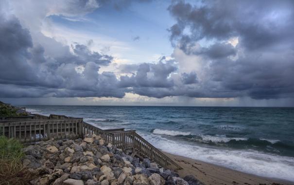 Фото обои море, небо, вода, океан, берег, пейзажи, лестница