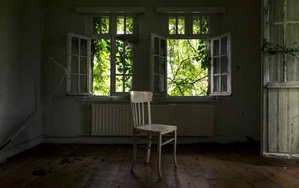Фото обои окна, стул, комната