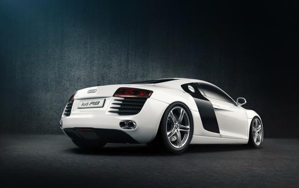 Фото обои белый, Audi, ауди, тень, white, задняя часть