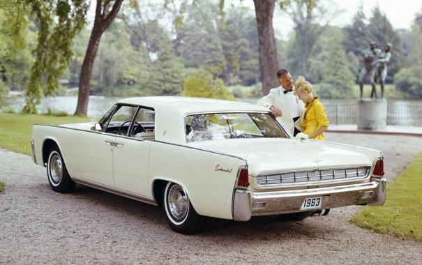 Фото обои Lincoln, фон, Continental, Континенталь, Sedan, 1963, Линкольн