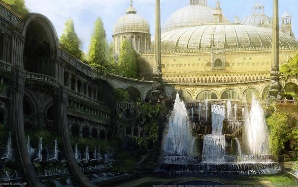 Фото обои деревья, город, парк, арт, колонны, арки, фонтаны