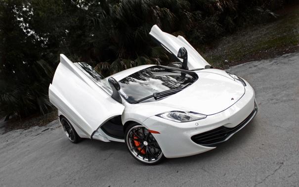 Фото обои белый, асфальт, трещины, McLaren, white, вид сверху, MP4-12C