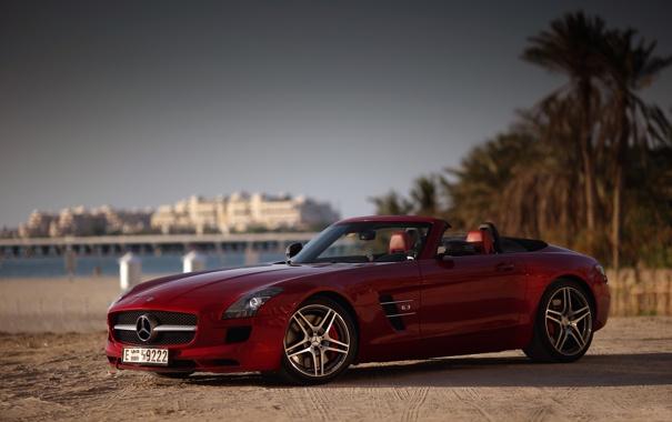 Фото обои пляж, красный, пальмы, Мерседес, Дубаи, Mercedes SLS