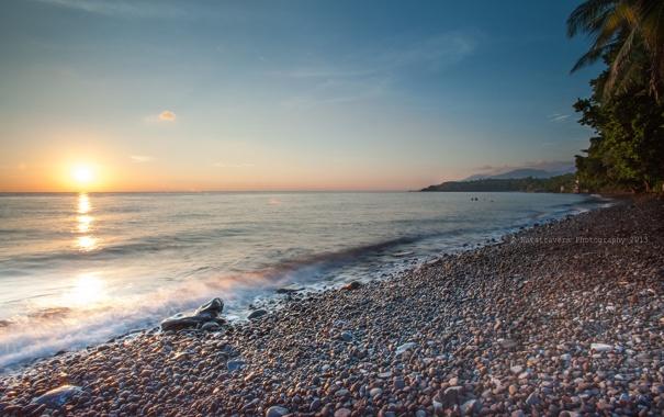 Фото обои пляж, галька, рассвет, побережье