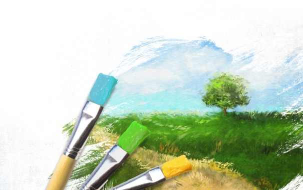 Фото обои небо, трава, дерево, ветер, краски, рисунок, луг