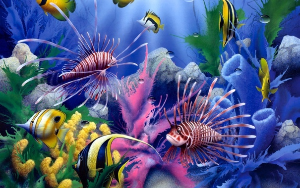 Фото обои colorful, painting, fish, corals, underwater world, David Miller, Lions of the Sea