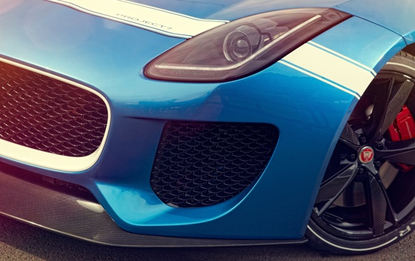 Фото обои Concept, макро, Jaguar, фара, ягуар, перед, Project 7