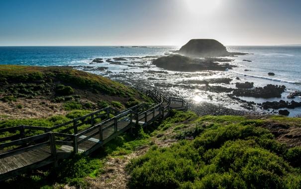 Фото обои камни, океан, побережье, спуск, горизонт, Австралия, лестница