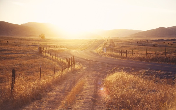 Фото обои дорога, солнце, пейзаж, природа, фон, widescreen, обои