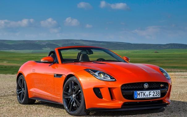 Фото обои небо, Jaguar, ягуар, автомобиль, красивый, F-Type, V8 S