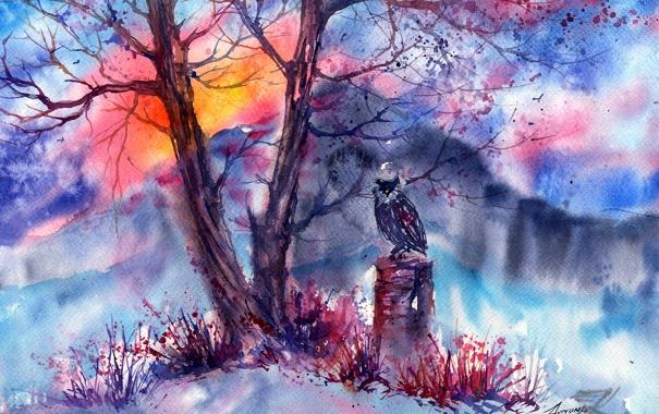 Фото обои трава, горы, дерево, сова, нарисованный пейзаж
