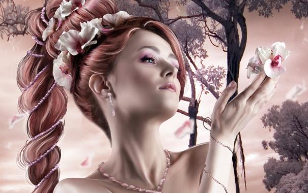 Фото обои взгляд, девушка, цветы, лицо, волосы, рука, серьги