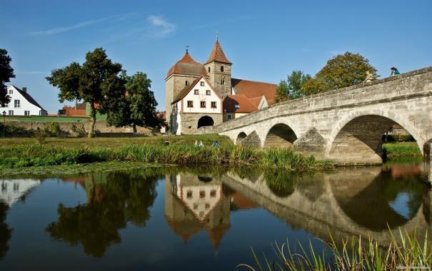 Фото обои мост, река, вид, памятник, архитектура, особняк, каменный