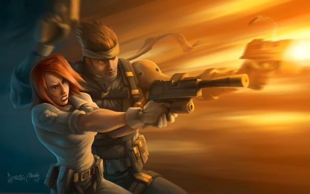 Фото обои девушка, пистолет, оружие, движение, мужик, арт, битва