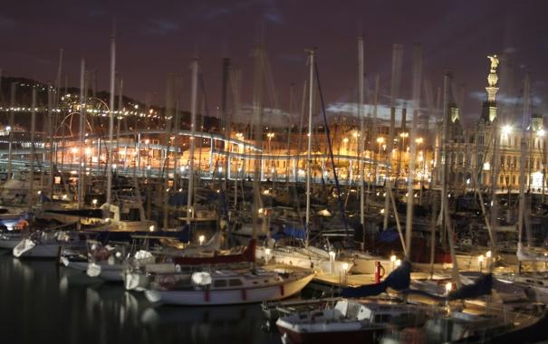 Фото обои ночь, город, огни, лодки, причал