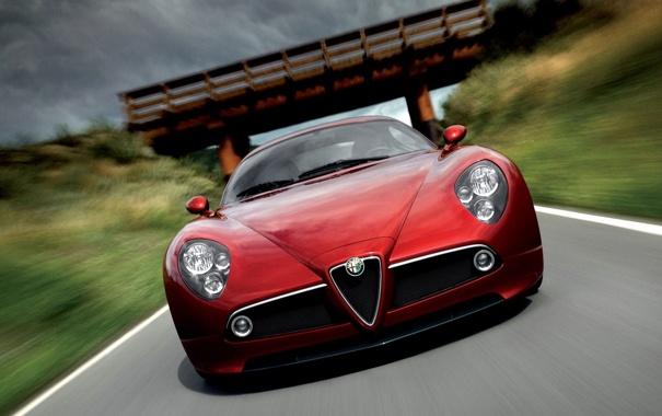 Фото обои машина, мост, природа, скорость, Alfa Romeo