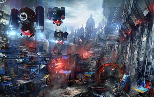 Фото обои ночь, город, будущее, фантастика, арт