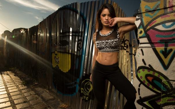 Фото обои стена, граффити, луч