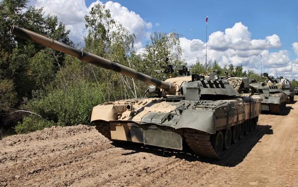 Фото обои мощь, танк, Россия, колонна, Т-80 УД