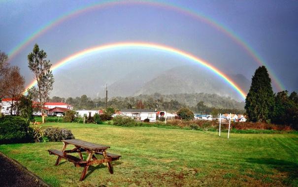 Фото обои стол, Природа, радуга