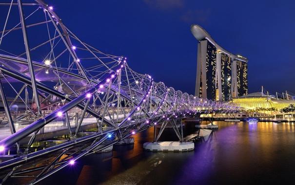 Фото обои небо, ночь, мост, огни, Азия, Сингапур, отель