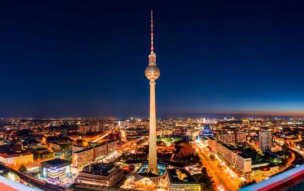 Фото обои ночь, город, огни, здания, дома, Германия, подсветка