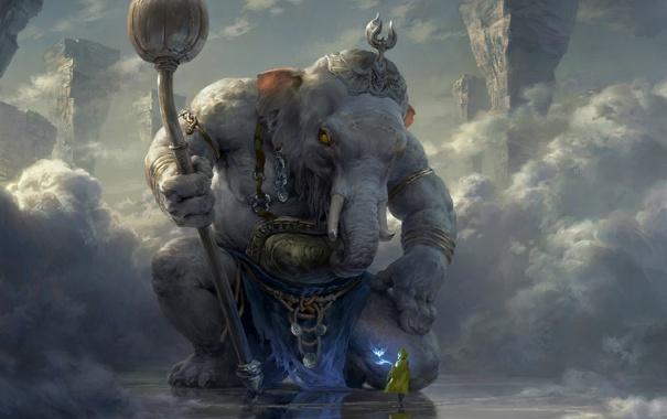 Фото обои облака, скалы, человек, слон, бог, арт, гигант