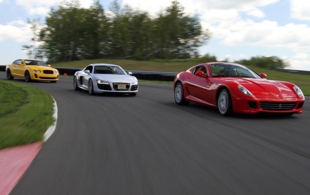 Фото обои желтый, гонка, Ауди, Феррари, Бентли, Ferrari 599 GTB Fiorano, AUDI R8