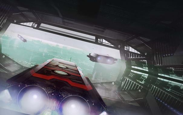 Фото обои город, транспорт, корабли, арт, тоннель