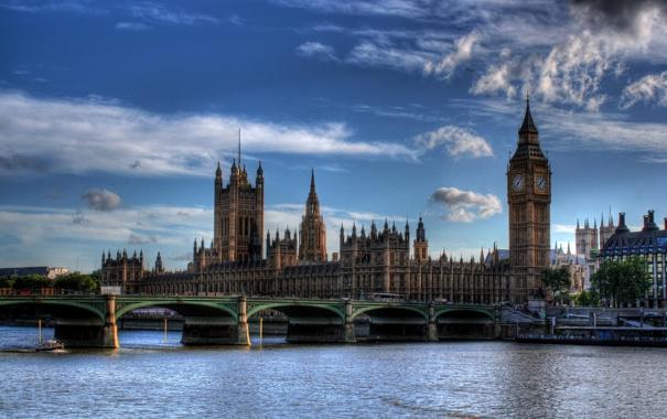 Фото обои небо, мост, город, река, HDR, Великобритания, London