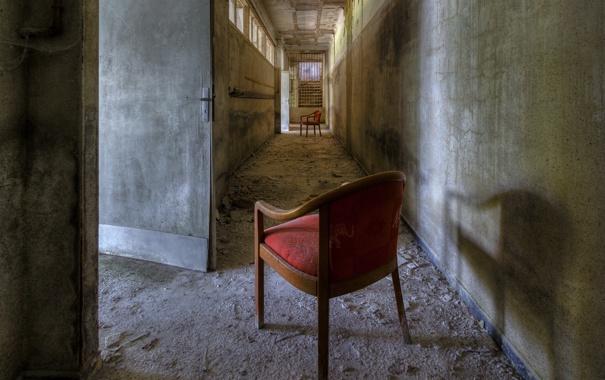 Фото обои стулья, двери, коридор
